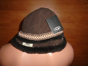 New-Womens-One-Size-S-M-L-UGG-Australia-Brown-Leather-Hat-Bucket-18376