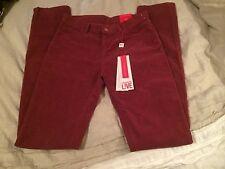 Lacoste Live Women's Corduroy Stretch Skinny Pants Maroon Red Sz 26 $185