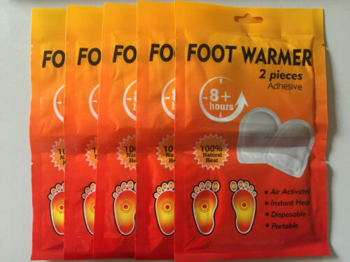 10 x Stick On Instant FootToeHand Warmers 5 pairs Keep Warm in the snow!