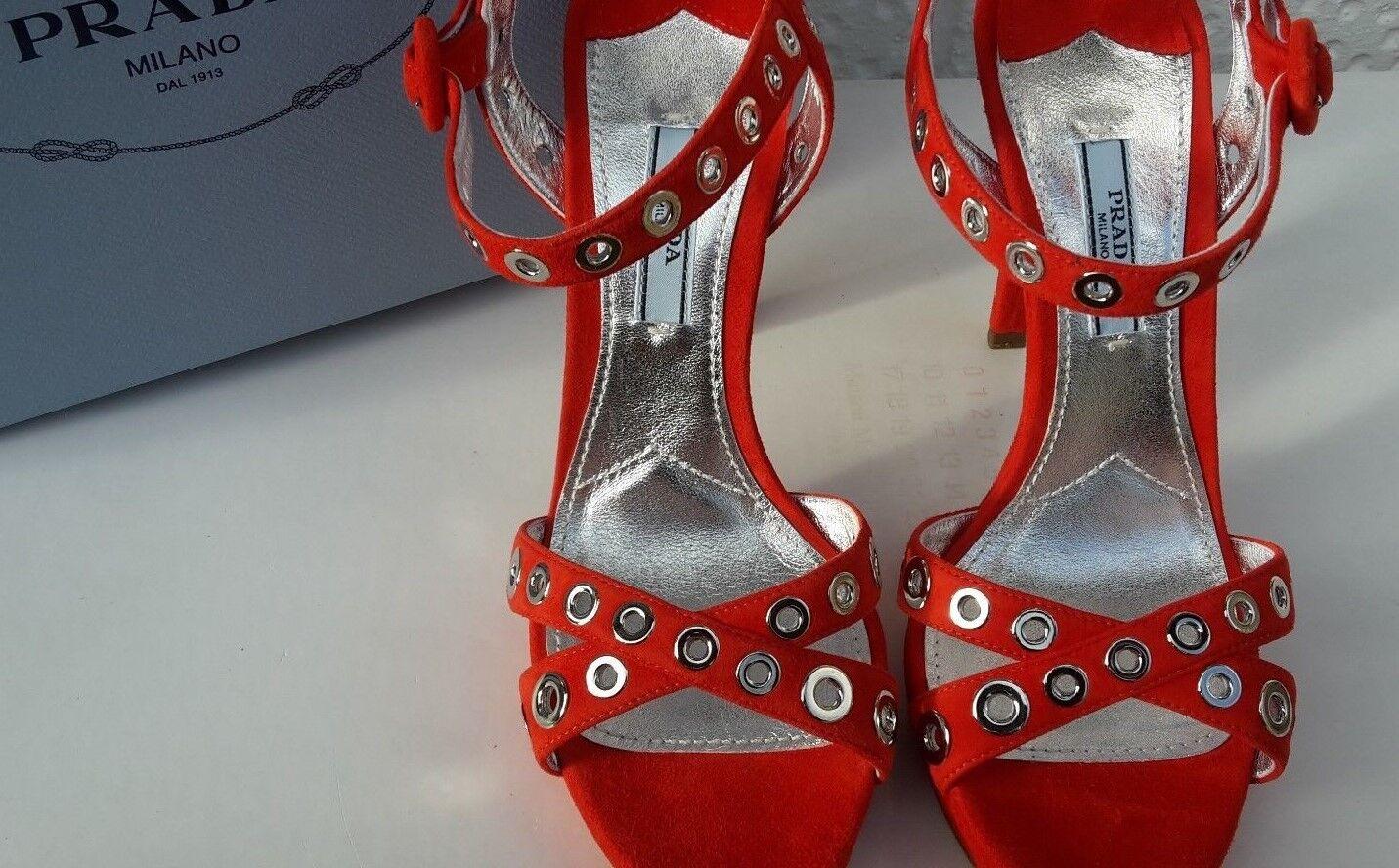 PRADA rot rot rot Sandals 5 38. Silber Eyelets Buy New 5f225b