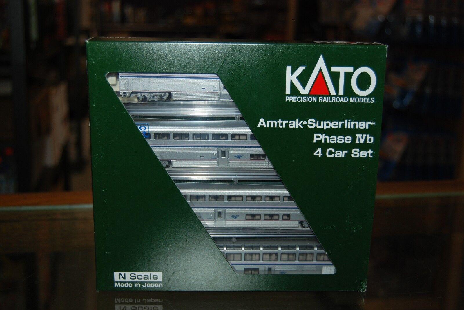 N skala Kato 106 -3516  Amtrak Superliner Fas IVb, 4 Biluppsättning B  NIB