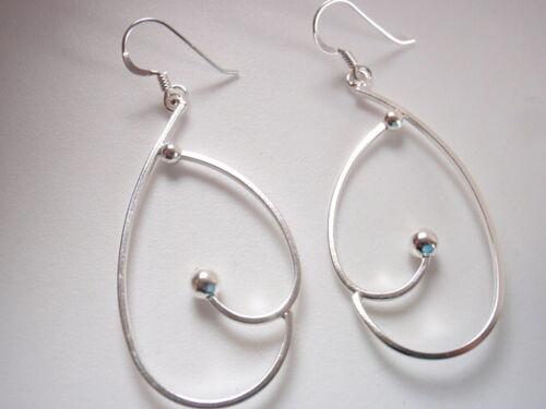 Silver Ball in Hoop Dangle Earrings Sterling Silver Corona Sun Jewelry