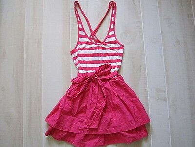Hollister by Abercrombie Striped Logo Cross Back Color Block Tie Summer Dress XS