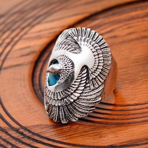 Wholesale Handmade 925 Silver Turquoise Ring Women Men Vintage Jewelry Size5-12
