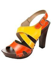 Scarpe Sandali Sandali in Pelle Arancione/Giallo ONU due divi tg. 41 (7,5) F W