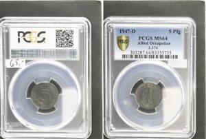 Allied Occupation 5 Pfennig 1947 D Mint State PCGS MS64 (8)