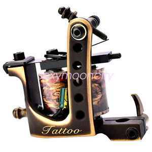 Brass Frame Coil Tattoo Machines 10 Wrap Coils Handmade Tattoo Guns ...