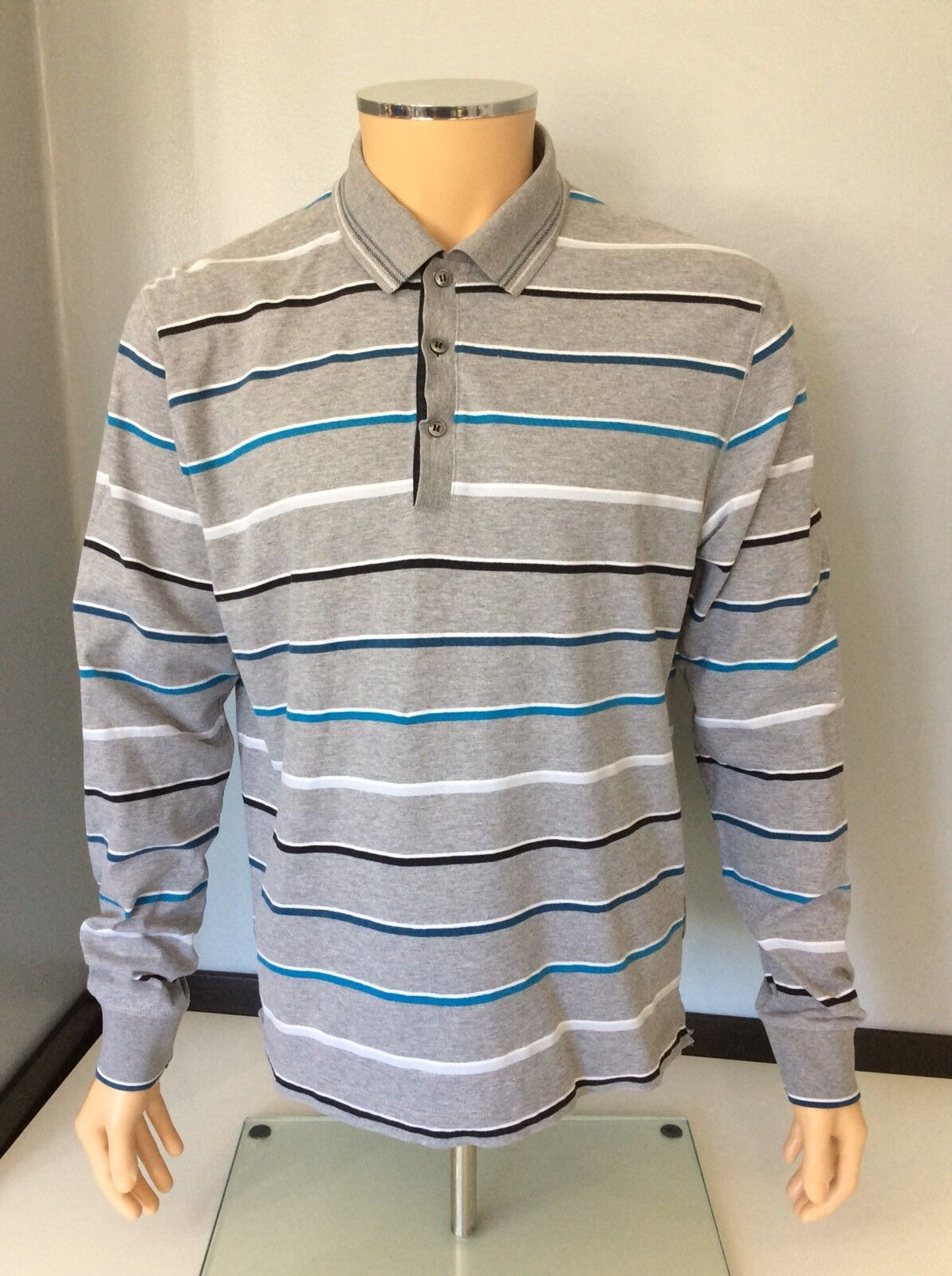 "Hugo Boss Polo Long Sleeve Top Size L Prato 08 Regular Fit P2P 23"" Inches"