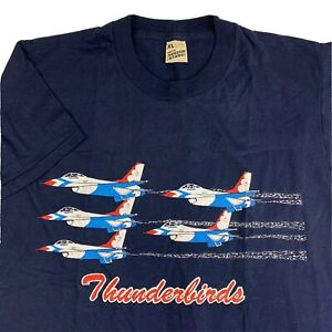 VTG-80s-US-Air-Force-Thunderbirds-Tee-T-Shirt-Mens-XL-X-Large-Jet-Plane-Air-Show