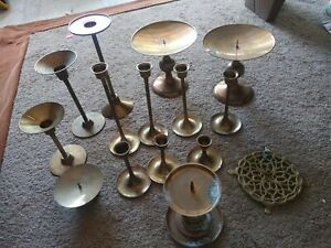 Lot-of-16-Vintage-Brass-Candle-Holders-Candlesticks-With-Tapered-7pc-Set