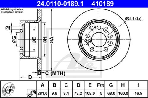 HA 745 ATE Bremsscheiben für VOLVO 740 Kombi Beläge Hinterachse