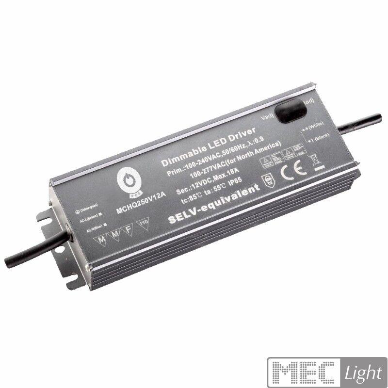 LED Trafo Netzteil justierbar mit PFC 12V 250W 18A wasserfest (MCHQ250V12A-SC)