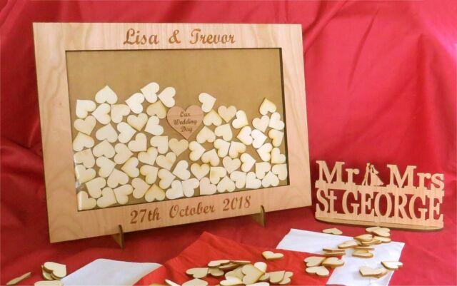 Personalised Wedding Drop Box Oak Frame Alternative Wedding Guest Book 1b