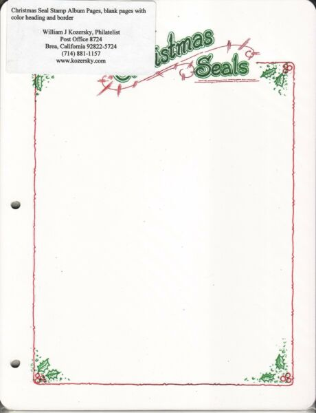 Christmas Seal Stamp Album Pages, blank pages with color