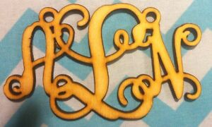 """6 Inch Long Monogram Necklace 1/8"""" Unfinished Birch Wood lot of 5"""