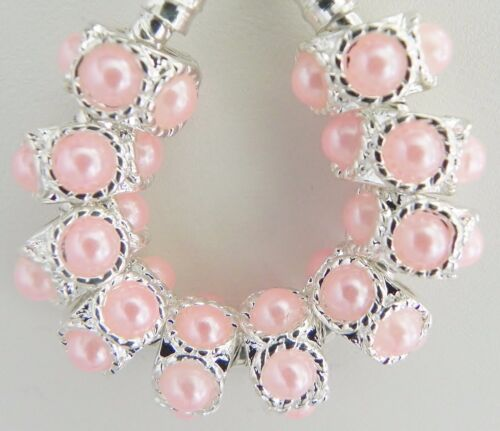 11 /& 5 mm trou R021 10 Rose Perle Look charme Entretoises Fits European Bijoux 6
