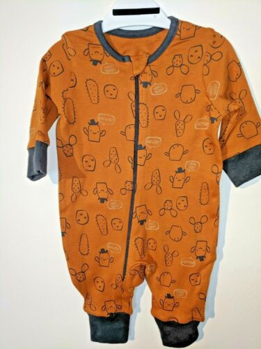 Baby Orange Cactus Babygrow//Sleepsuit Âge 0 1 2 3 6 9 12 mois Footless Zip