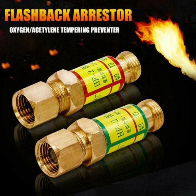 Automatic Valve Acetylene Oxygen Flashback Arrestor Gold Tone