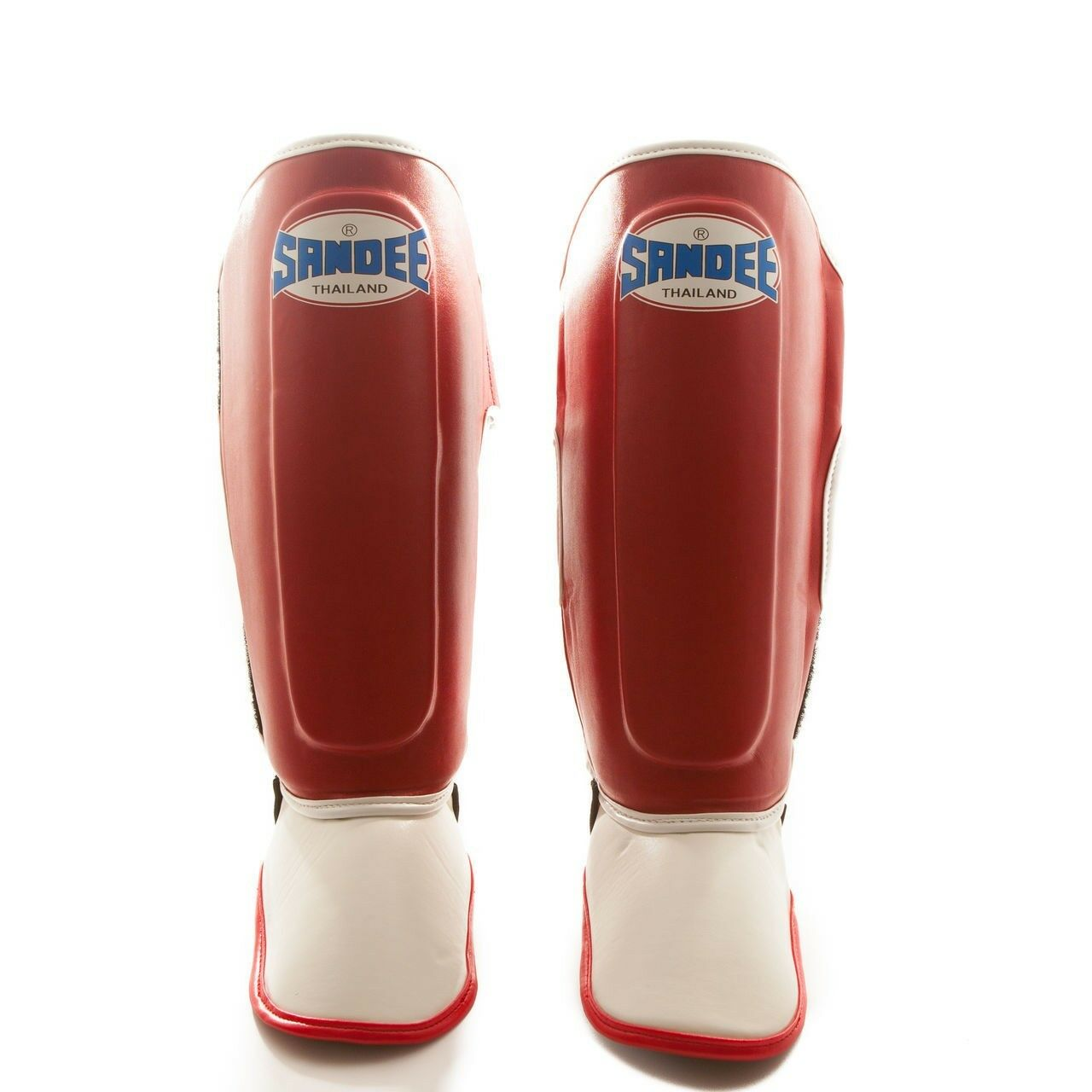 Sandee Kids Muay Thai Shin Guards Red White Kids Sparring Shin Pads