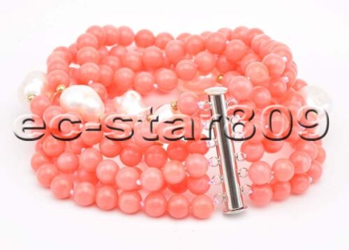 """D0339 6Row 8/"""" 4mm Pink /& Red round Coral White Baroque pearl Bracelet Magnet"""