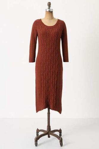 Sparrow Rust Cabled Heavens Fall Cashmere Sweater Cableknit Dress SZ Small Midi