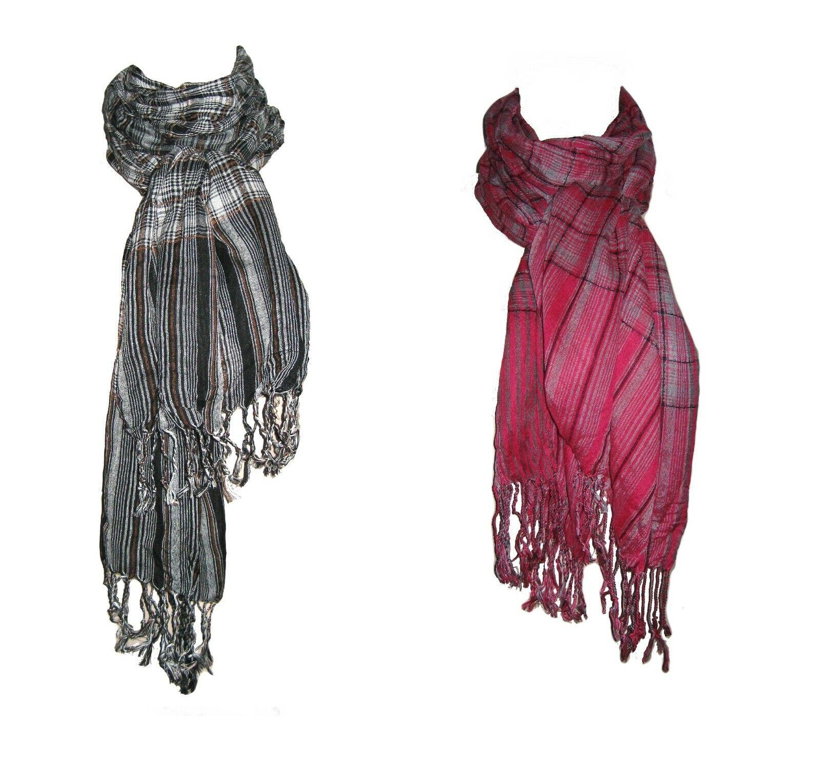 Grey/Pink/Brown Check/Stripe Scarf with Fringe Soft Feel Long Crinkle Ladies/Man