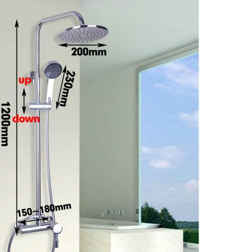 Wall Mounted Polished Chrome 8/'/' Rain Shower Head Single Handle Hand Sprayer Tap