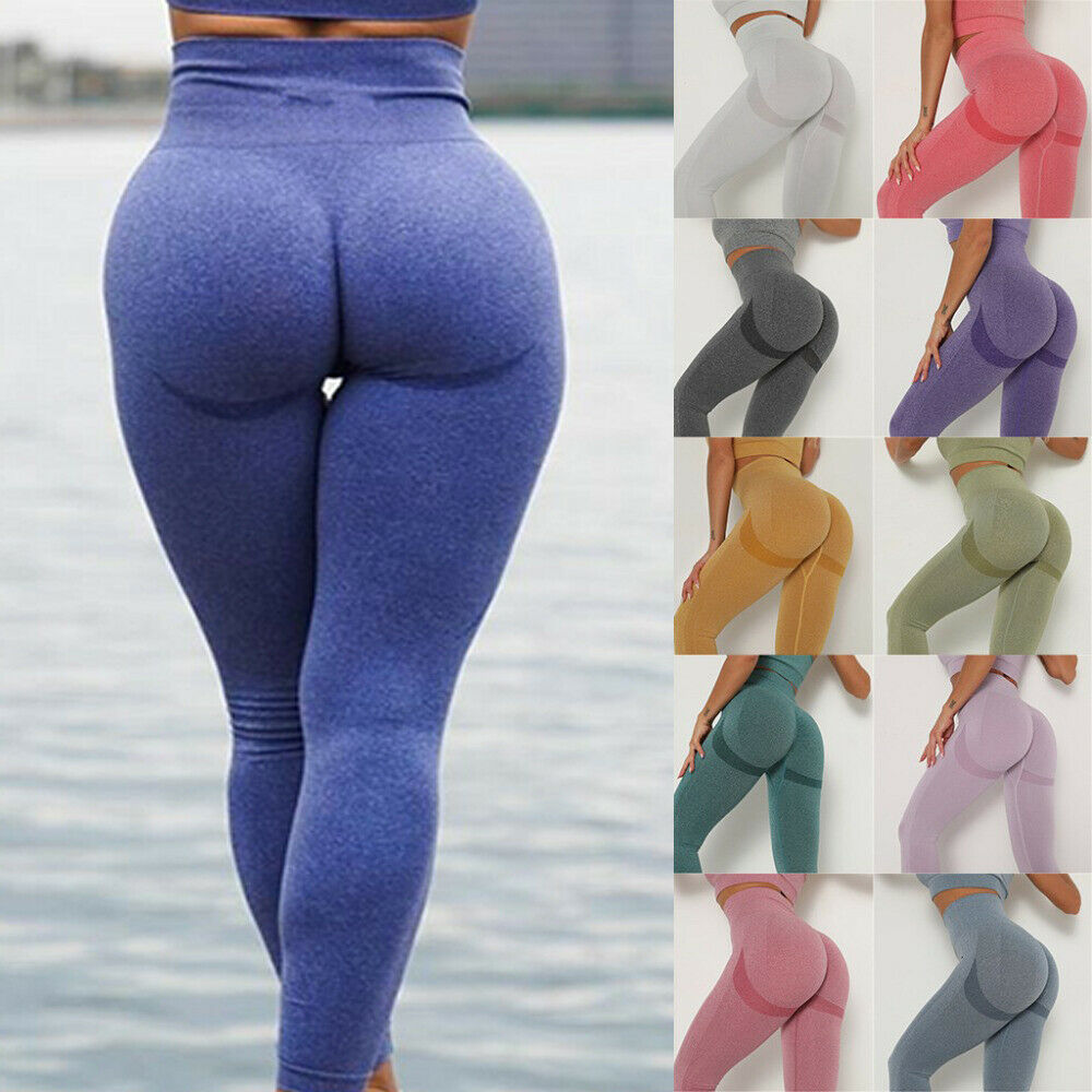 Women Seamless Leggings Push Up Yoga Pants High Waist Workout Exercise Trousers