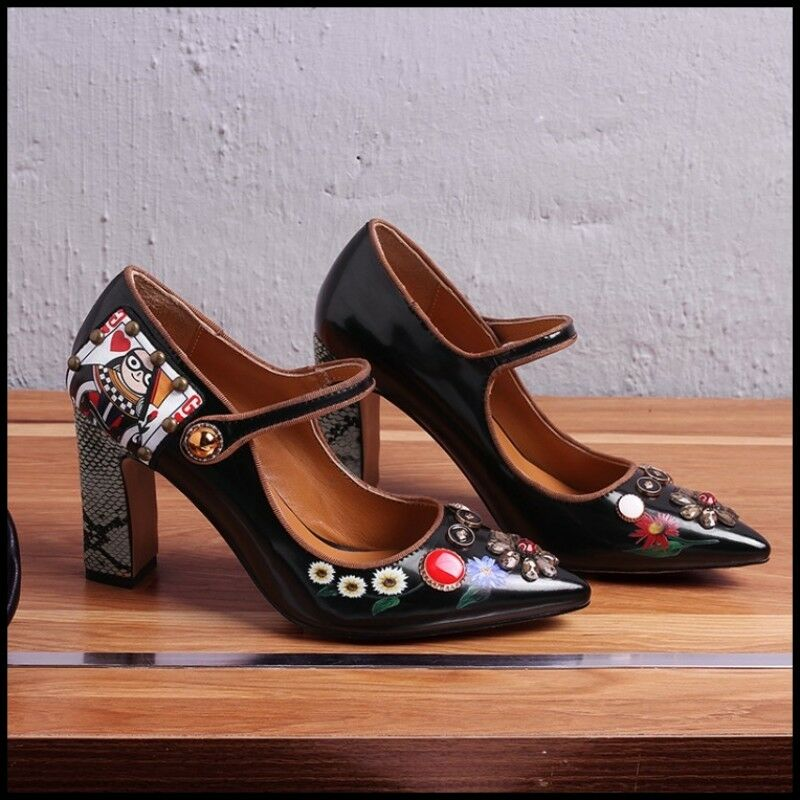 Women's Marry Jane Patent Leather Rhinestones Pointy Toe High Heels Heels Heels Pumps shoes 36af7e