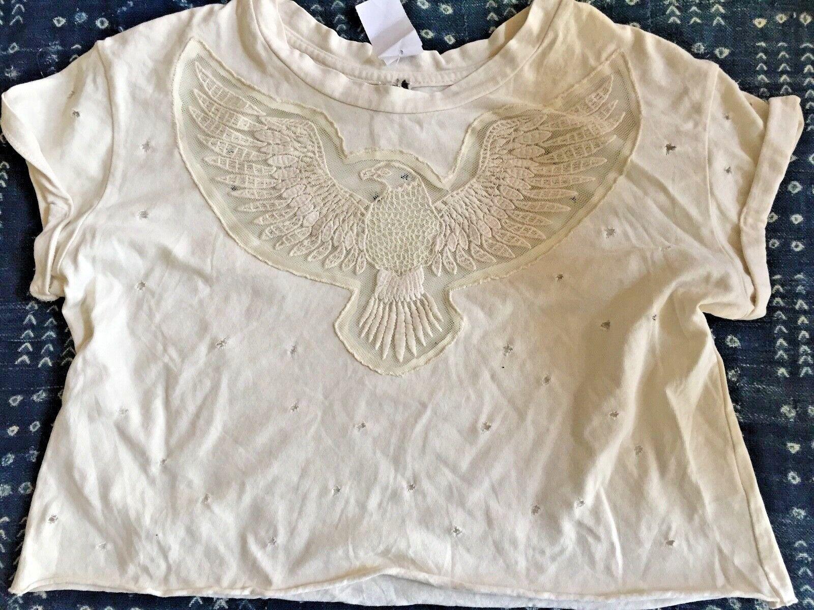 Emma & Sam Cropped T-Shirt, LF Store, Cream, New, Eagle Lace Applique,  XS