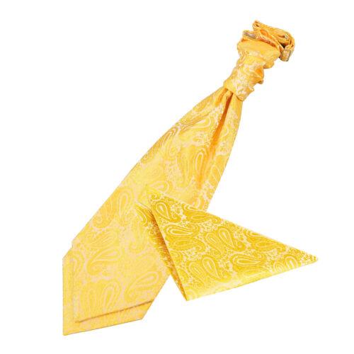 DQT Woven Floral Gold Formal Wedding Pre-Tied Mens Cravat /& Hanky