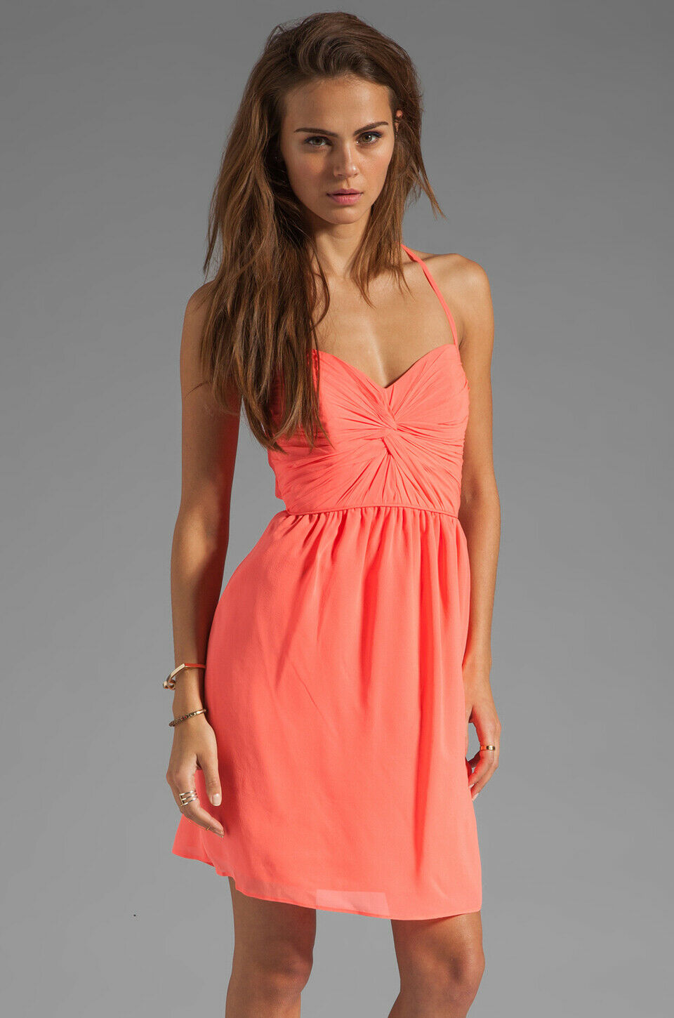 Shoshanna Neon Rosa Silk Crossback Twist Front Carine Party Cocktail Dress Sz 6