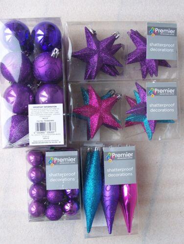 Drops /& Stars Purple Pink Premier Shatterproof Christmas Tree Glitter Baubles