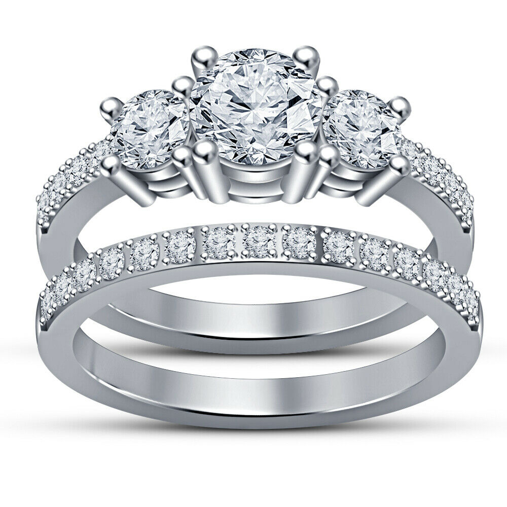 14K White Gold Over Three Stone Diamond Bridal Ring Set