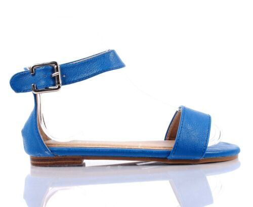 5 Color Fashion Ankle Strap Buckle Silp On Girls Sandals Youth Kids Flats Shoes