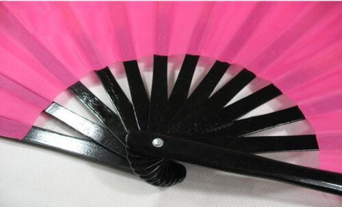 """13/""""Chinese Kung Fu TaiChi Wushu martial art Performing dance black bone pink Fan"""