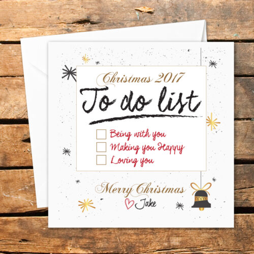 Personalised Handmade Christmas Card To Do List Love You Presents Gift Couple