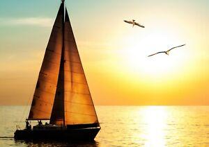 A1-Sunset-Sailing-Poster-Print-60-x-90cm-180gsm-Sail-Boat-Wall-Art-Decor-1614
