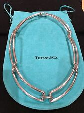 Tiffany & Co Rare 2002 Sterling Silver Rectangle Link Choker Necklace In VGC.