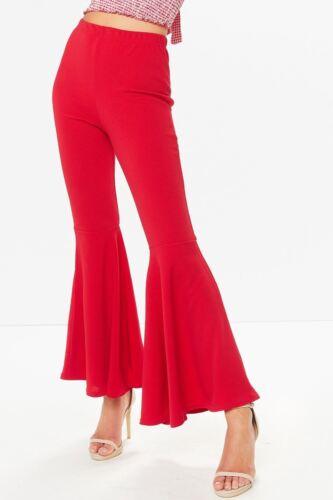 Womens Ladies Flared Frill Trousers Bell Bottom Wide Leg High Waist Black 6-14