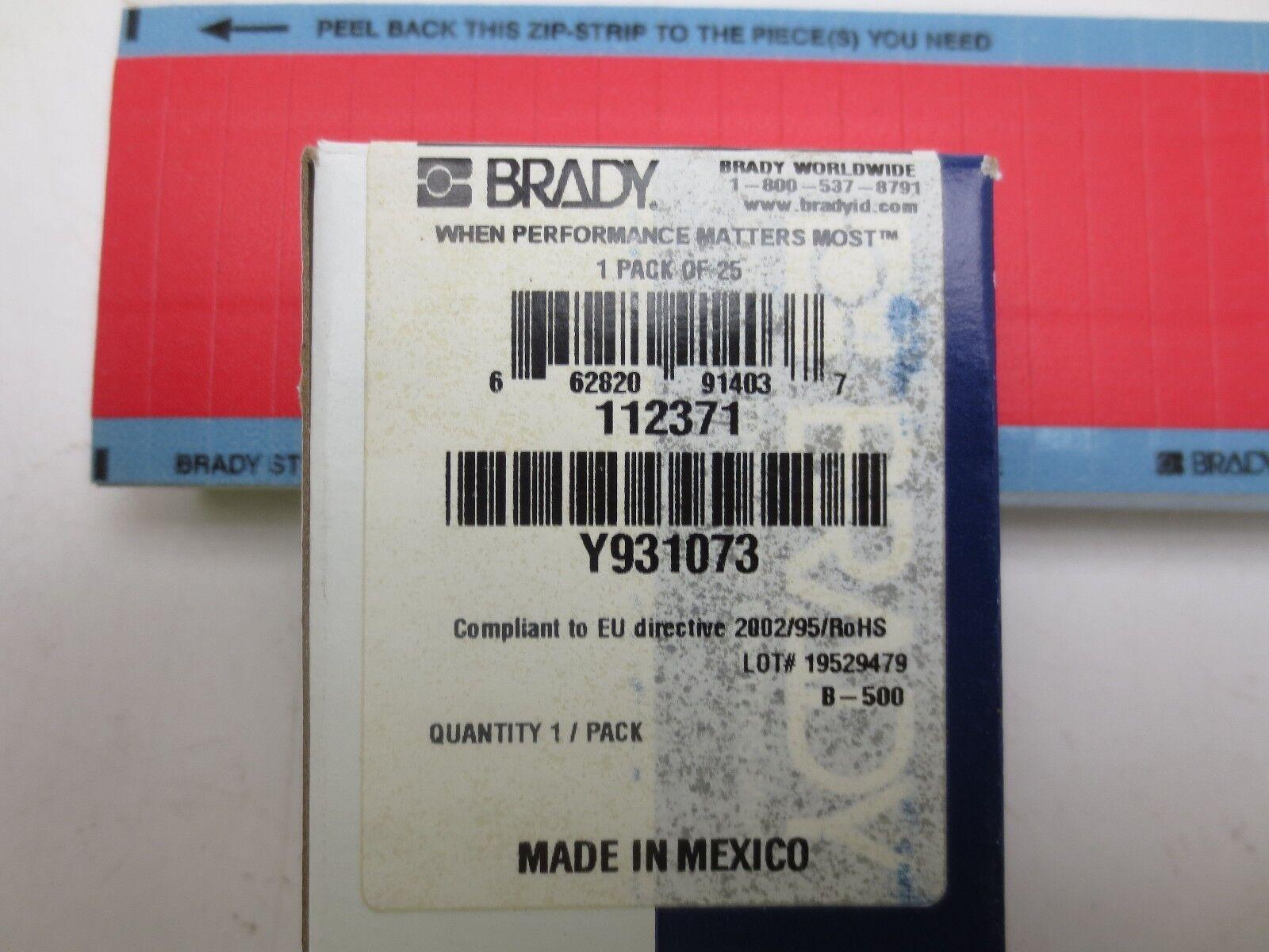 25pk Brady Y931073 Wire Identification Labels
