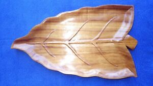 Old-Vintage-Hawaiian-Large-Koa-Ape-Leaf-Pupu-Platter-Tray-Tiki-Bar-Luau-Hawaii
