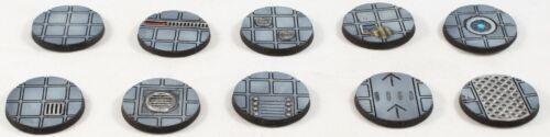 Set of 10 25mm Resin Sci fi Starship Deck Bases