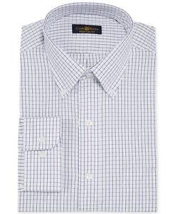 $93 CLUB ROOM Men's REGULAR-FIT WHITE BLUE CHECK BUTTON DRESS SHIRT 15.5 34/35 M