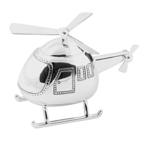 Helicopter Shape Money Box Silver Plated Christening Gift for Babies