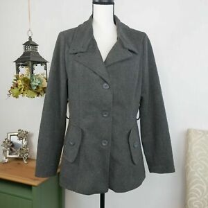 Alpine-Swiss-Gray-Peacoat-Jacket-Wool-Blend-Winter-Coat-Women-039-s-Size-Medium