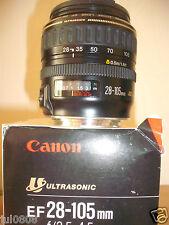 En Caja de canon ef 28-105MM F/1:3.5-4.5 Lente Zoom Ultrasónico ~ Cap ~ instrucciones 17M13