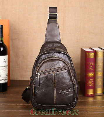 Men Genuine Leather Vintage Travel Shoulder Cross body Back pack Sling Chest Bag
