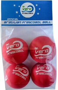 Vero-Frescobol-paddle-ball-Balls-Brazilian-official-high-visibility-Red-4-Pack