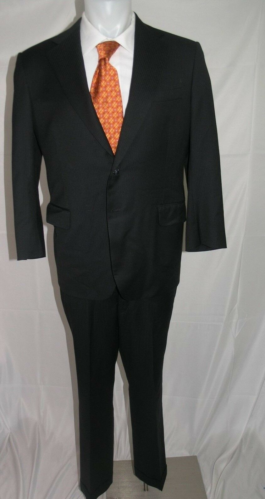 Maurizio of Fifth Ave Bespoke Two Button Flat Front Suit 42 R 36 x 29